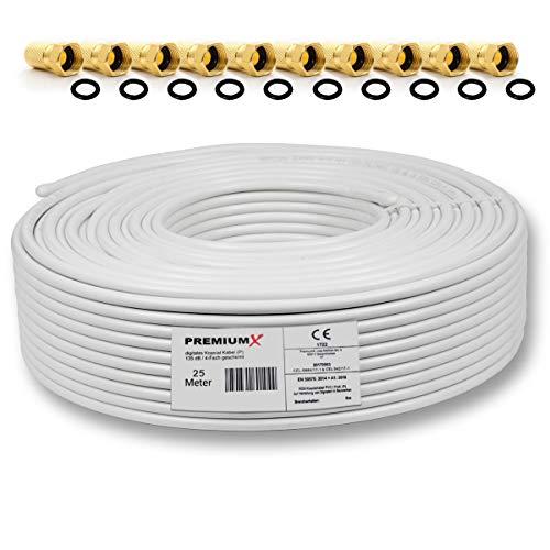 25m 135dB Sat Koaxialkabel Koax Kabel Reines Kupfer Digital PremiumX Profi FullHD UltraHD 4K 4-Fach geschirmt für DVB-S / S2 DVB-C DVB-T und BK Anlagen + 10 F-Stecker mit Gummiring