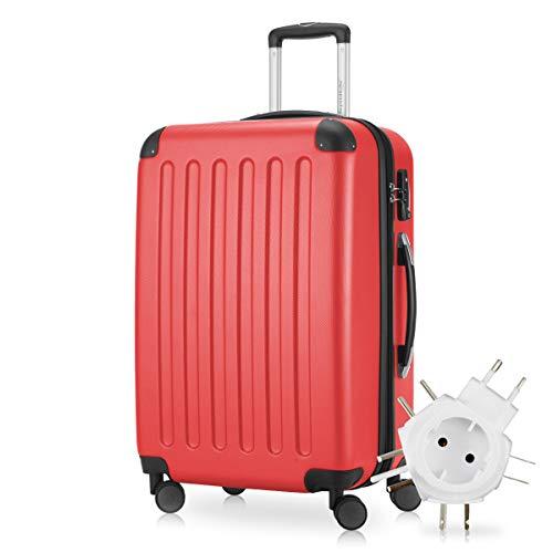 Hauptstadtkoffer - Spree Hartschalen-Koffer Koffer Trolley Rollkoffer Reisekoffer Erweiterbar, 4 Rollen, TSA, 65 cm, 74 Liter, Rot +Universal Reiseadapter