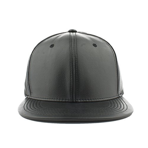 c9ccb572d42 Pitbull Headwear Pitbull Cap Men s Blank Faux Leather Snapback Hat (Black)