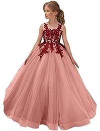 26b0e235052 Sunnywill Robe de soirée de Mariage en Tulle de Dentelle pour Les Filles et Robe  de