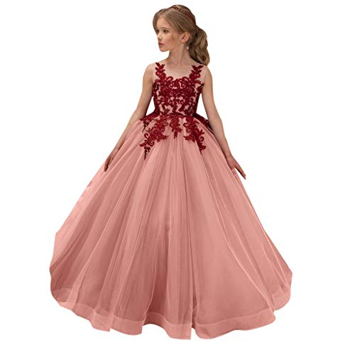 Mbby costumi damigella bambine,5-14 anni vestiti da carnevale per bambina carnevale abiti principessa fiori senza manica in pizzo abito tutu per ragazza