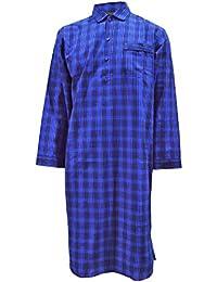 Chemise de nuit à carreaux bleu, Coton 100% - Homme