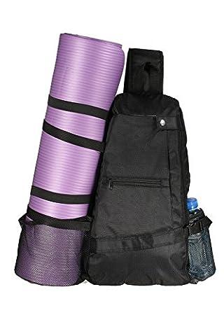 AMAGGIGO 30L Sac Yoga sac bandoulière multi-usage Crossbody Sac à dos de yoga pour Hot Yoga Pilates Gym Sport Voyage Randonnée pédestre Vélo (Black)