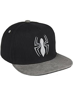 Spiderman - Gorra Marvel visera plana con acabado premium talla 59 color negro con bordado 3D, para adolescente...