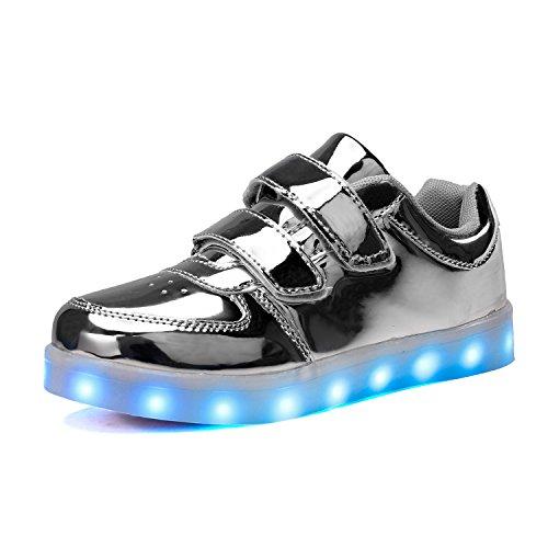 Voovix Kinder Schuhe mit Licht LED Leuchtende Blinkende Low-Top Sneaker USB Aufladen Shoes für Mädchen und Jungen(Silber/2,EU37) (Silber 2 Leder-schuhe)