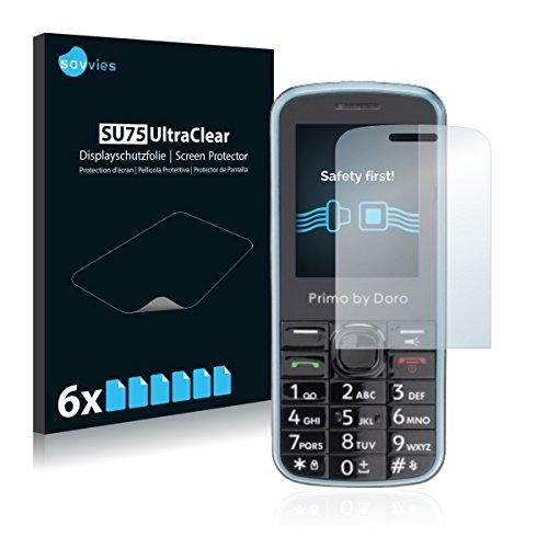 6x Savvies SU75 UltraClear Bildschirmschutz Schutzfolie für Doro Primo 305 (ultraklar, mühelosanzubringen)