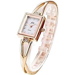 TOWEAR Ladies Girls Wristwatch Golden Bracelet Chain Square Dial Waterproof Watch