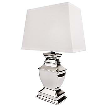 tischlampe keramik silber lampe mit lampenschirm in grau oder wei wei beleuchtung. Black Bedroom Furniture Sets. Home Design Ideas