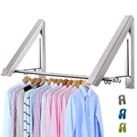 LIVEHITOP Foldable Wall Mounted Clothes Rail 2 Pieces, Coat Hanger Racks Dryer Aluminum Hanging Rod Wardrobe Hooks for Bedroom Bathroom Balcony Indoor Outdoor
