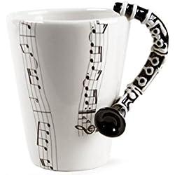 Clarinete Taza de Café Hecho a Mano 8oz Negro (10cm x 8cm)