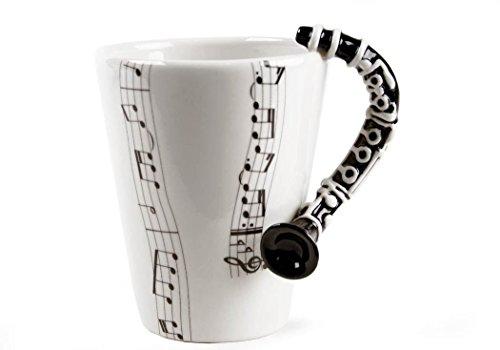 Klarinette Kaffeetasse handgefertigt Schwarz 225g (10cm x 8cm)