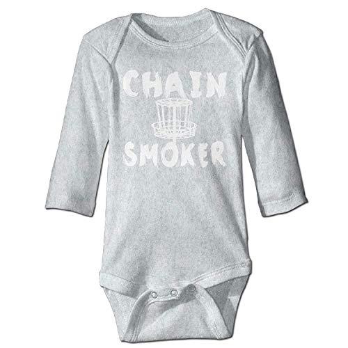 MSGDF Unisex Newborn Bodysuits Chain Smoker Girls Babysuit Long Sleeve Jumpsuit Sunsuit Outfit Ash