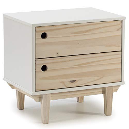 VS Venta-stock Nachttisch Rome 2 Schubladen in Weiß, Beine und Frontplatten in Naturholz - 2 Schubladen Naturholz-nachttisch