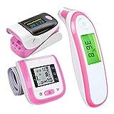 Huapa Probador multifuncional, oxímetro, contador de pulso con la punta de los dedos, termómetro para bebés, termómetro médico digital con termómetro médico (Rosa)