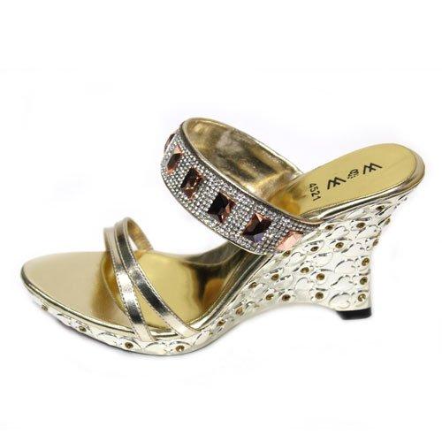 Wear & Walk UK , Sandales pour femme multicouleur Black/Gold/Silver Or - doré