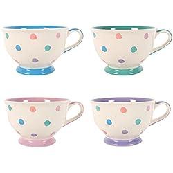 Tazas de té PASTEL lunares Splodge tazas de té juego de 4