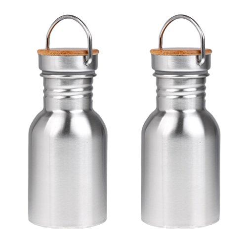 MagiDeal 2 Stück Edelstahl Wasserflasche BPA Frei Außen Sport Trinkflasche 350ML