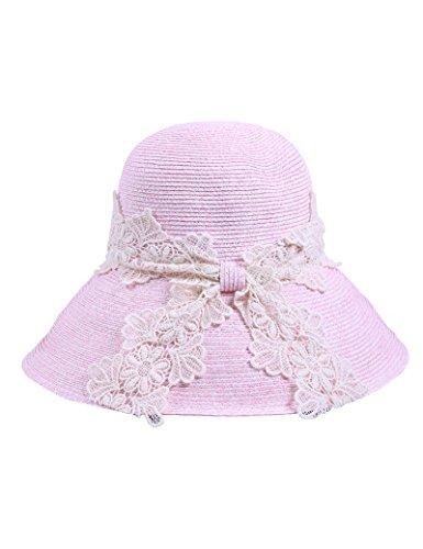 Chapeau de soleil d'été Dentelle d'été féminine chapeau de paille Pliable chapeau de soleil Voyage Couvrez le visage Bonnet solaire Chapeau de plage Pour les voyages de plage sortants ( Couleur : 2 ) 2
