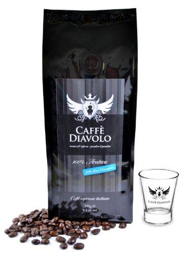 Caffe Diavolo - Nero Blue Mountain & 6 Espressogläsern - 4 x 250 Gramm Bohne