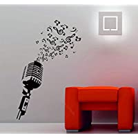 wangpdp Microphone music notes retro studio music DJ decorative vinyl wall sticker poster home art design decoration 42 * 65cm