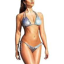 b35e53d120c50 Las Mujeres Verano Caliente Apretado Traje De Baño Bikini Tanga De  Lentejuelas De Playa Honda