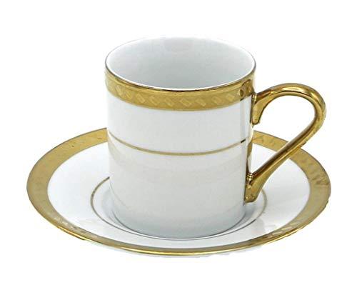 Porzellan Porzellan Espresso Türkischer Kaffee Demitasse 6er Set Tassen + Untertassen Banded Border mit Rechteck fein Demi-tasse, 3 oz, 100 ml gold Demi Demitasse