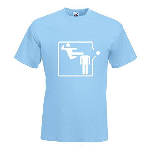 KIWISTAR - Karate Kick T-Shirt in 15 verschiedenen Farben - Herren Funshirt bedruckt Design Sprüche Spruch Motive Oberteil Baumwolle Print Größe S M L XL XXL Himmelblau