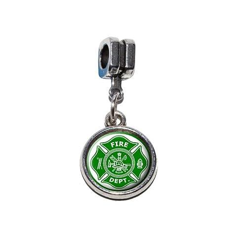 Firefighter Firemen Maltese Cross - Green Italian European Euro Style Bracelet Charm Bead - Fits Pandora, Biagi, Troll, Chamilla, Others