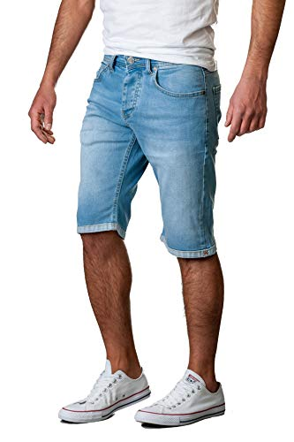 Gelverie Herren Shorts Slim Fit Bermuda Jeansshorts W40 Light Blue Denim