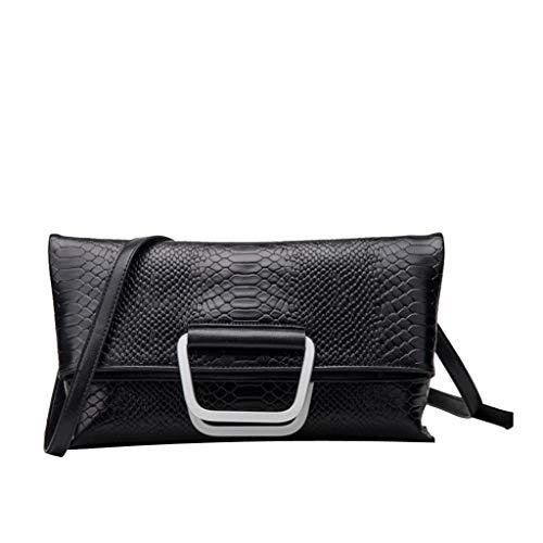 WYGmadlifeqq Damenmode Umhängetasche Handtasche Krokoprägung diagonale Cross Bag Casual Bag (Color : Black, Size : L)