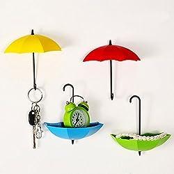 TANGMI Colorful Umbrella Sticky Ganci autoadesivi liberi per unghie forti ganci da parete per portachiavi da parete, decorazione parete, porta, porta chiavi e piccole parti jewelry, 3 pezzi