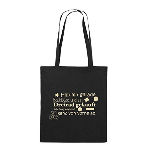 Comedy Bags - Hab mir gerade Bauklötze und ein Dreirad gekauft - Neuanfang - Jutebeutel - lange Henkel - 38x42cm - Farbe: Schwarz / Pink Schwarz / Beige