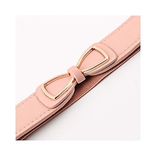 LXCDD Damen elastisches Leder Bow Belt Womens rot weiß rosa Stretch dünne Korsettgürtel für Frauen Kleid -