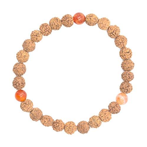 Aum Rudraksha Designs Orange and Brown Rudraksh Unisex Bracelet (Size: M 18.5 cm, Caturangga - B6.5 Fire Agate--M 18.5 cm)