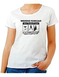 T-Shirt para Las Mujeres Blanca TRK0305 Weekend Forecast