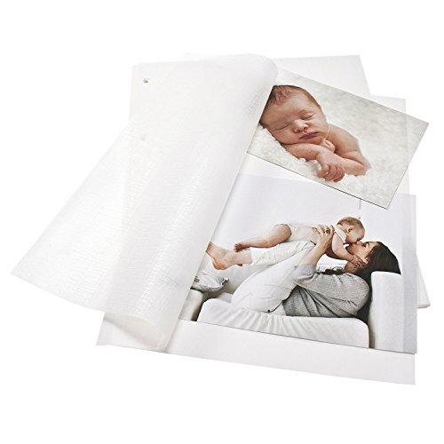 Goldbuch Fotokarton mit Pergamin, 20 Blätter, Für Bella Vista Foto-Ringbücher, DIN A4, Weiß, 83001 -