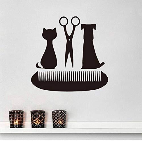 SYQH Grooming Salon Scissors Comb Wandtattoos Pet Shop Decor Katze und Hund Vinyl Wandaufkleber,40 cm x 38 cm - Sweet Dreams Auge