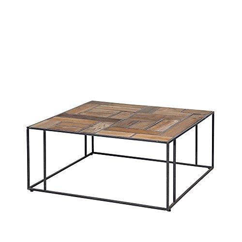 Meuble Passion Table Basse Industrielle Design en Teck et métal recyclés carrée (80 x 80 cm)