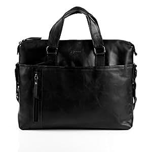 """BACCINI serviette LEANDRO - grand - attache-case approprié pour 15,4"""" - mallete cartable avec bretelle noir en cuir véritable"""
