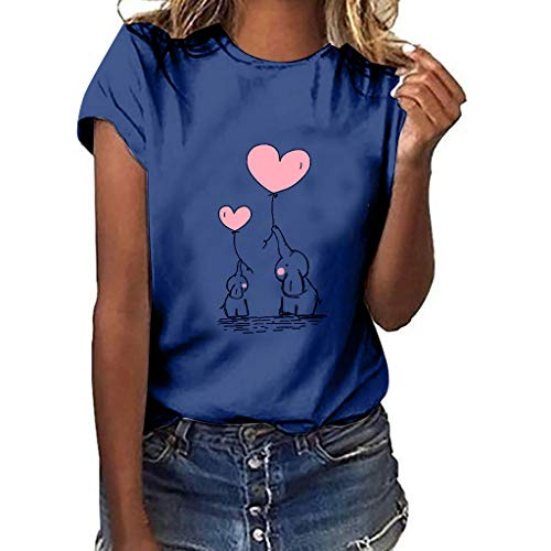 MEIbax Elefante Y Elefante bebé Impresión de Moda Manga Corta de Mujeres Verano Debe Camiseta de Mujer Cuello Redondo Casual Tops de Mujer Suelto y cómodo Ropa de Mujer