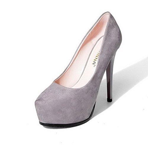 AalarDom Femme Fermeture D'Orteil à Talon Haut Matière Mélangee Chaussures Légeres Gris