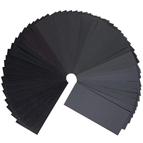 Schleifpapier Set, Gyvazla 45 Stück 120 to 3000 Grit Schleifpapier Sortiment Trocken/Nass Für Automobilschleifen Holzbearbeitung und Holzdrehen, 9 x 3,6 Zoll