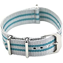 Grey/Turquoise Nylon Band - 20mm