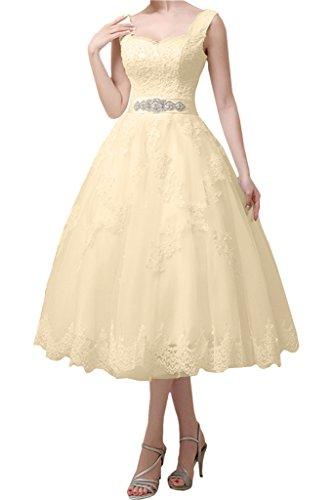 Victory Bridal Vintage Beach Damen Hochzeitskleider Brautkleider Brautmode Wadenlang Kurz 2015 Neu Beige