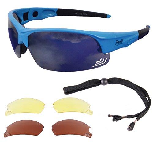 Rapid Eyewear 'Edge Blue' PILOTENBRILLE mit wechselgläsern. Entsprechen den Empfehlungen der Luftfahrtbehörde. Piloten Brille für Damen und Herren. Sonnenbrille mit UV400 Schutz