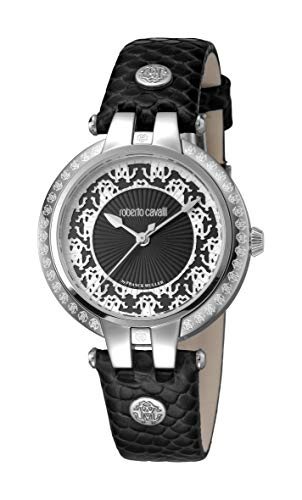 Roberto cavalli pizzo da donna Swiss Quartz Black Leather Watch RV1L051L0026