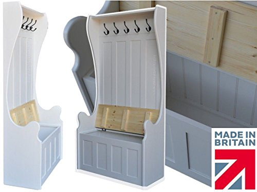 Price comparison product image White Painted Storage Bench, 175cm Tall Solid Pine Monks Bench, Settle, Pew with Lifting Lid Shoe Storage Seat & Integral Coat Rack. No flat packs, No assembly (MB-175CRP)