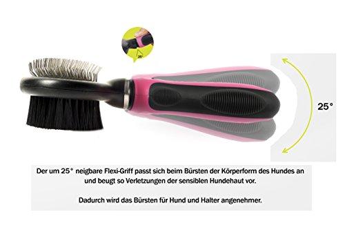 Professionelle 2-in-1 Kombi Bürste mit flexiblem Griff | Softbürste & Zupfbürste für große, mittelgroße und kleine Hunde und Katzen - 3