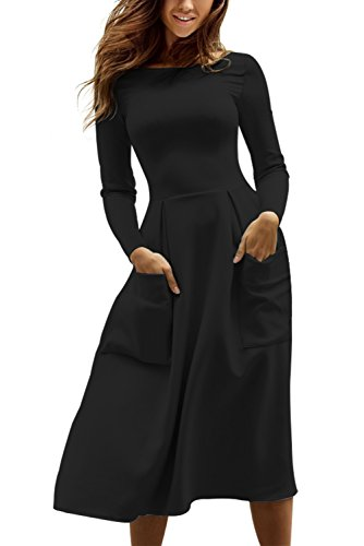 TOUVIE Damen Kleid Herbst Langarm Freizeitkleid A-Linie Midi Kleid Schwarz XL (Ärmeln Langen Midi-kleid)