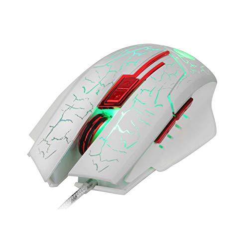 (Misszhang-US 5500DPI 6 Tasten, ergonomisch, USB, kabelgebunden weiß weiß)
